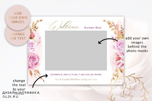 Birth Announcement Card Template #9 - 3855087