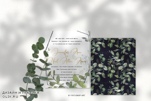 Watercolor Eucalyptus Clipart Set - 3863524