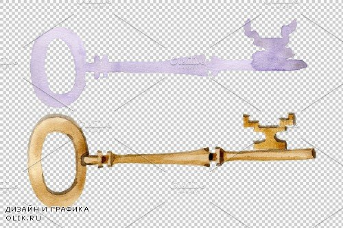 Vintage key magic watercolor png - 3864886