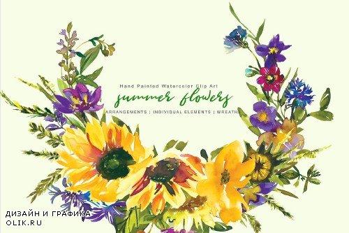 Watercolor Sunflower Clipart Set - 3863367