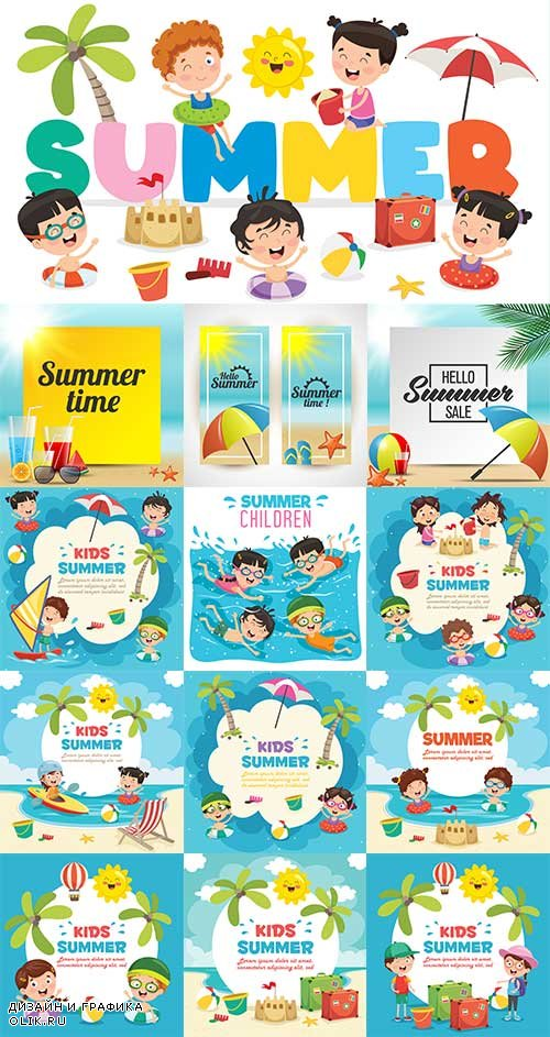 Здравствуй лето - 18 - Векторный клипарт / Hello summer - 18 - Vector Graphics