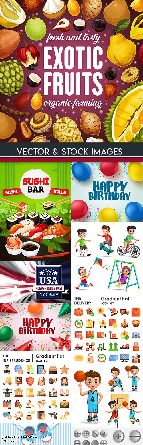 Collection vector illustrations on different subjects 42