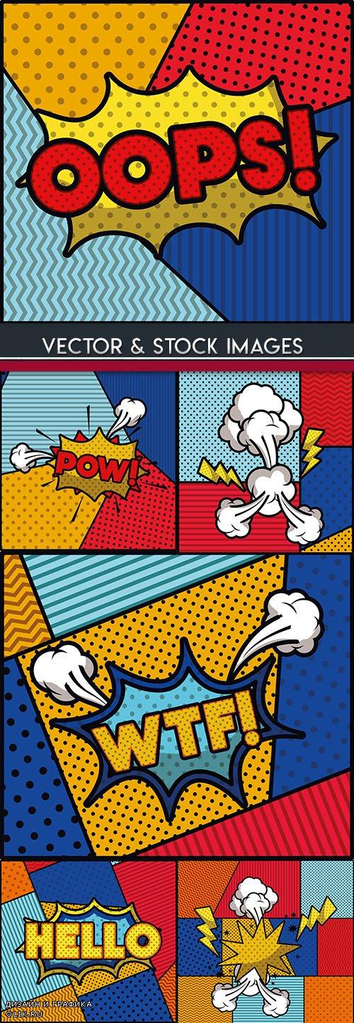 Funny popart comic effect halftone illustration design