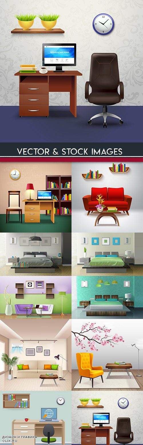 Room with furniture and situation 3d design