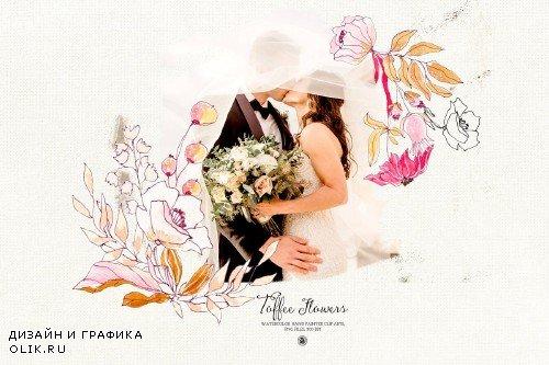 Watercolor Toffee Flowers - 3864030