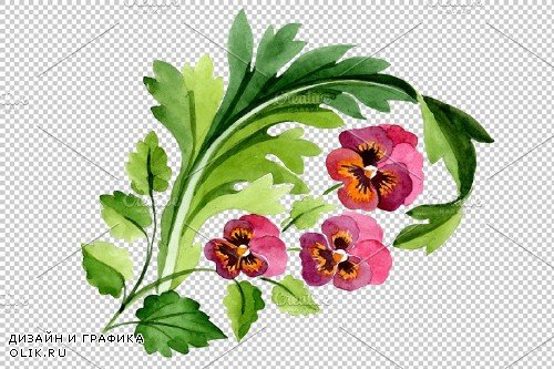 Ornament with violas Watercolor png - 3869923