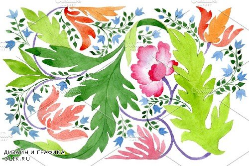 Ornament of wildflowers watercolor - 3869718