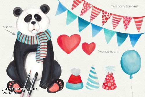 Panda Bear Watercolors - 1100753