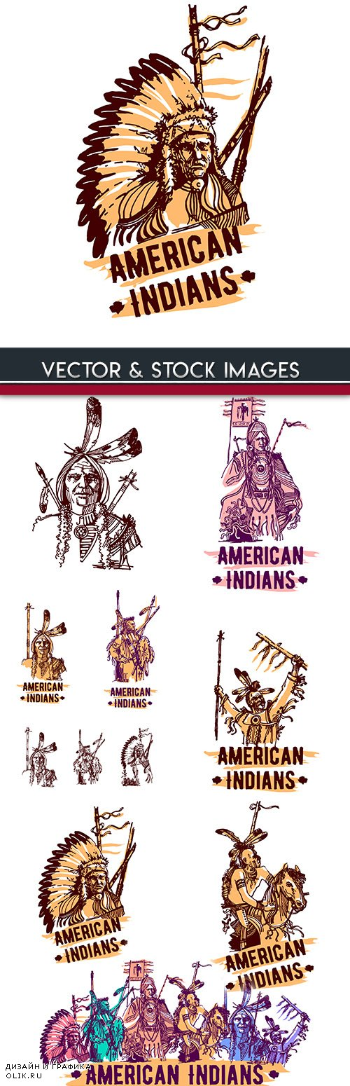 American Indian weapon and animal emblems tribe