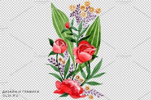 Ornament red free Ukraine watercolor - 3868829