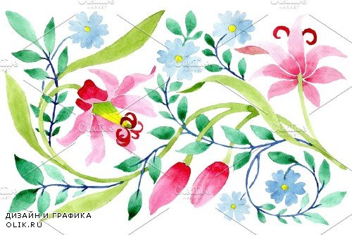 Floral pattern pink watercolor png - 3868498
