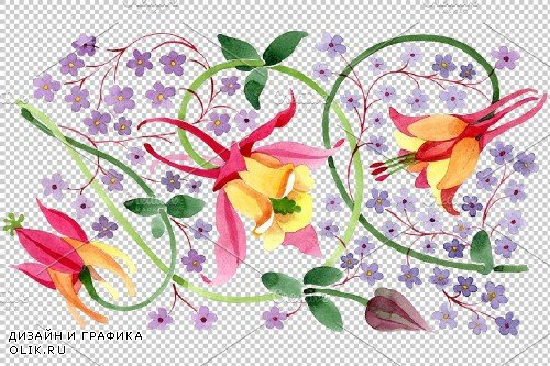 Ornament for flower vase watercolor - 3868431
