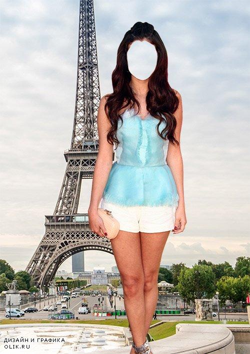 Женский фотошаблон - Лето в Париже