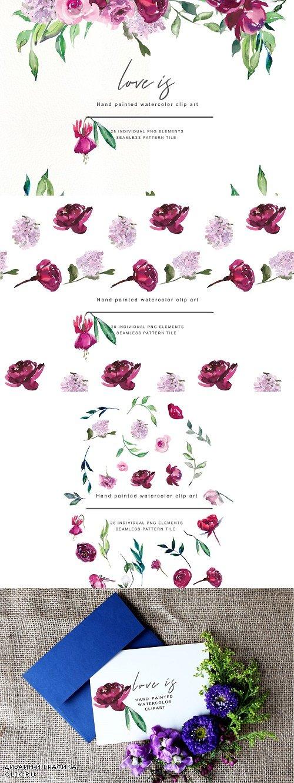 Watercolor Marsala & Pink Flowers - 3112777