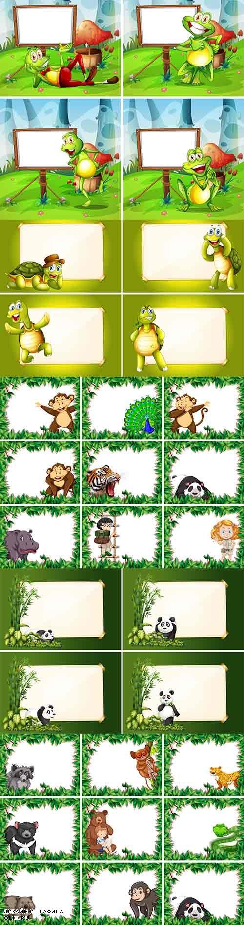 Летние рамки с животными - Векторный клипарт / Summer frames with live animals - Vector Graphics