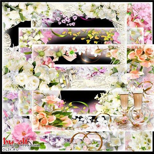 Свадебные рамки для фотошопа - Желаем счастья и добра