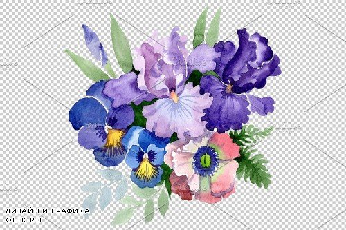 """Bouquet """"Three wishes"""" watercolor - 3886019"""