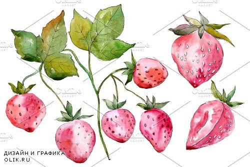 Strawberry red Watercolor png 3886132