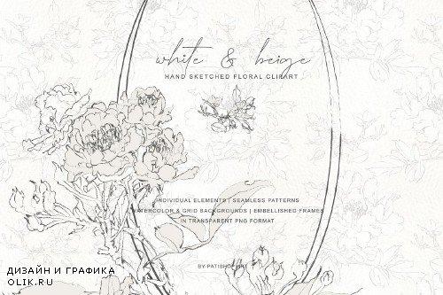 Pencil Sketched Fine Line Flowers Clipart - 3882843