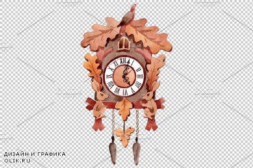 Vintage wall clock watercolor png - 3885818