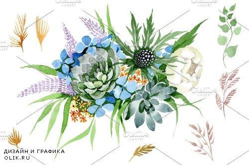 Bouquet Summer beauty watercolor png - 3885096