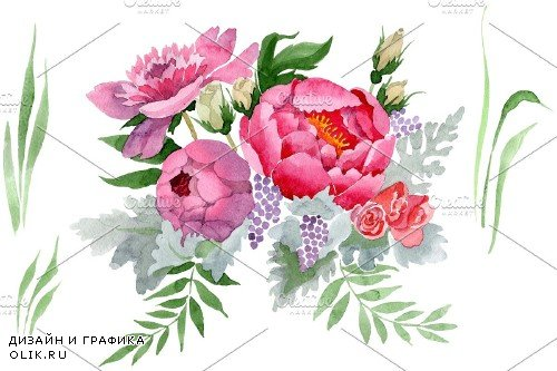 """Bouquet """"Grace"""" watercolor png - 3885732"""