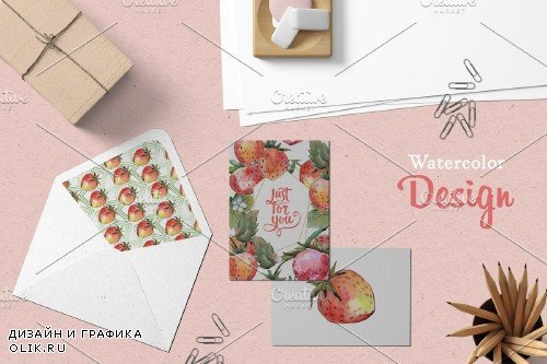 Tasty juicy strawberry watercolor - 3882622