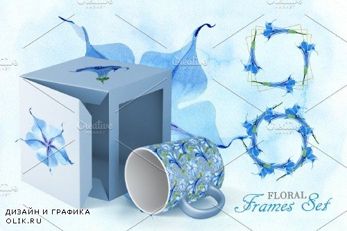 Blue Brugmansia Watercolor png - 3882206