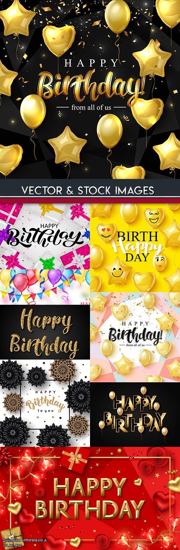 Happy birthday party decoration illustration design