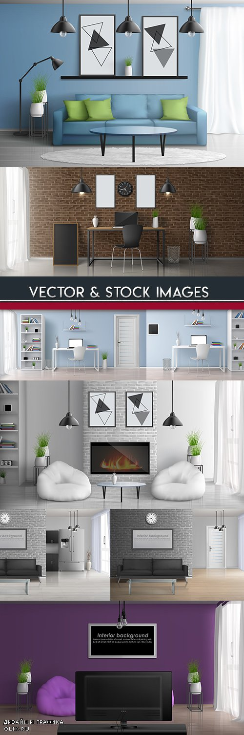 Interior room and furniture 3D realistic illustrations
