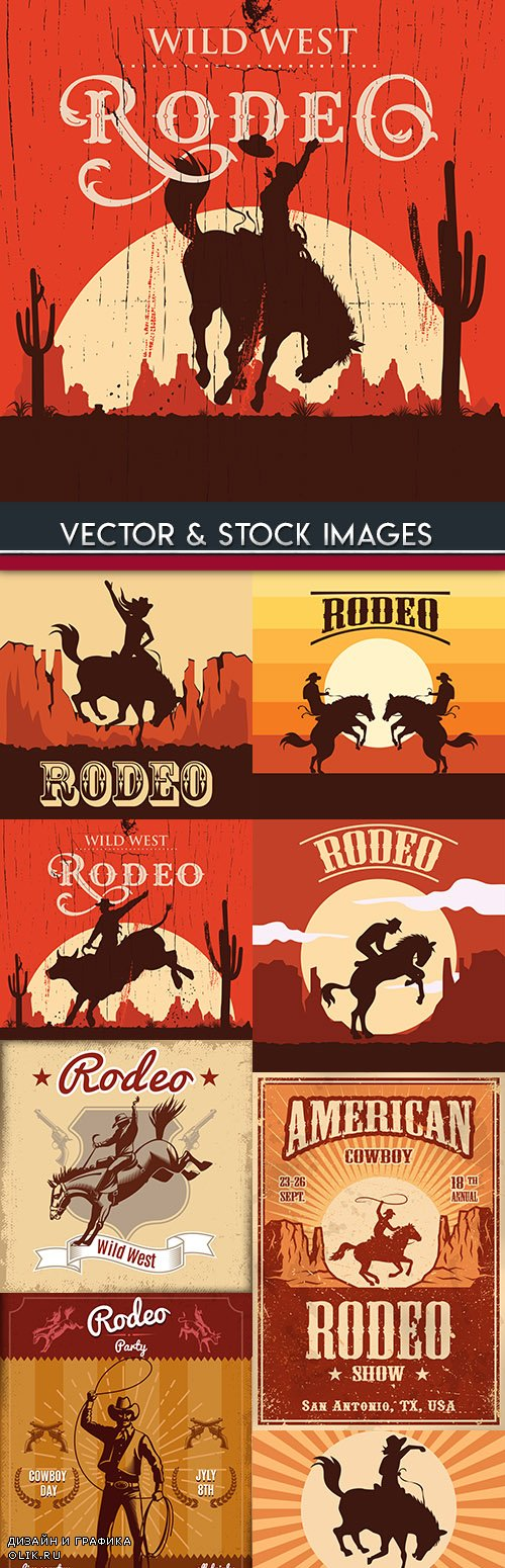 Rodeo Wild West cowboy on a bull design banner