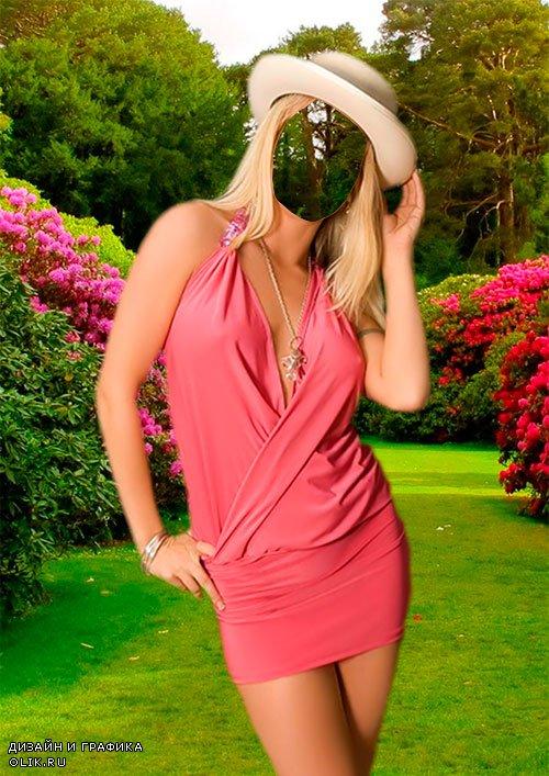 Женский фотошаблон - В летнем саду