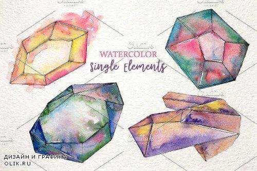 Platinum crystals watercolor png - 3887100