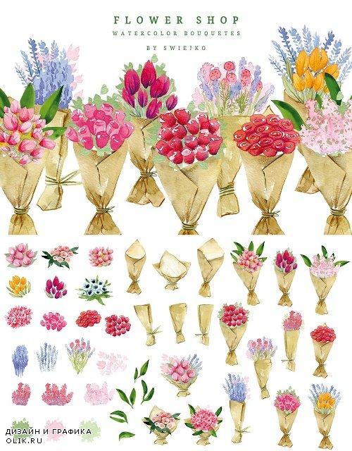 Flower Shop, watercolor bouquets - 2376526