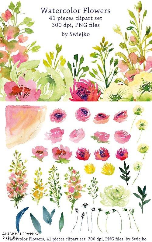 Watercolor Garden Flowers - 636799