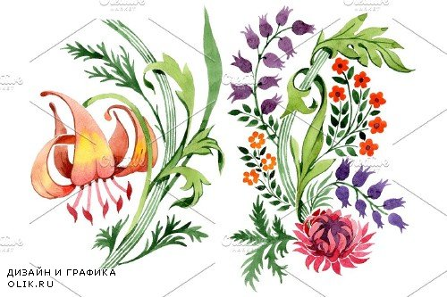 Floral ornament sunny watercolor png - 3890736