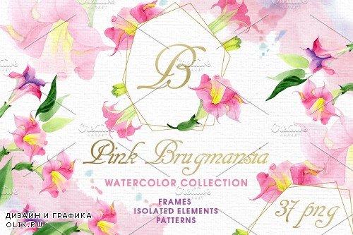 Pink Brugmansia Watercolor png - 3889965