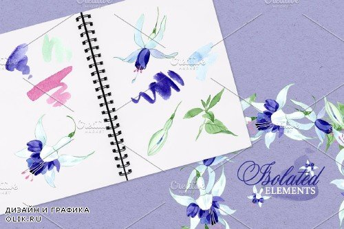Fuchsia blue Watercolor png - 3890696