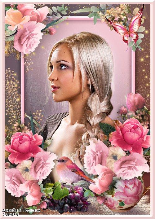 Рамка для Фотошопа - Роза благоухает, страстная, но ранима, колкая нетерпимо, сердце моё пронзает