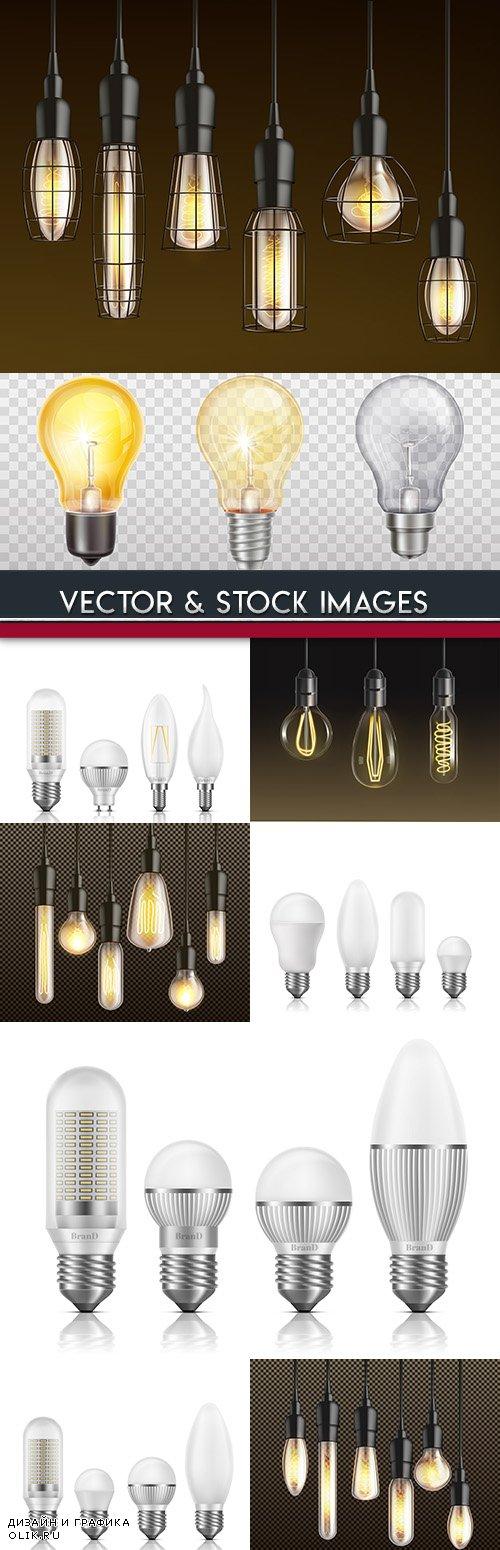 Electric glass bulbs 3d realistic illustration
