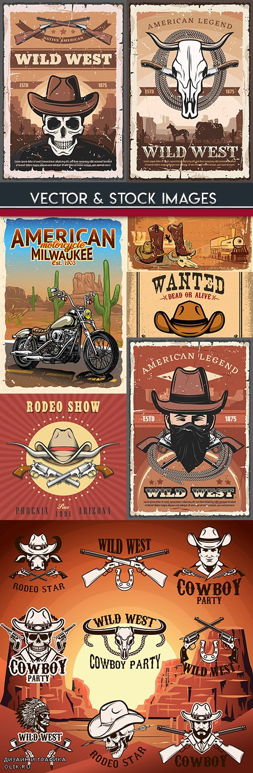 Western American cowboy vintage poster