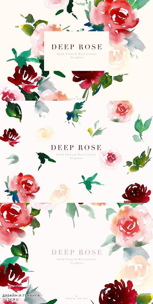Watercolour Flowers - Deep Rose - 2492951