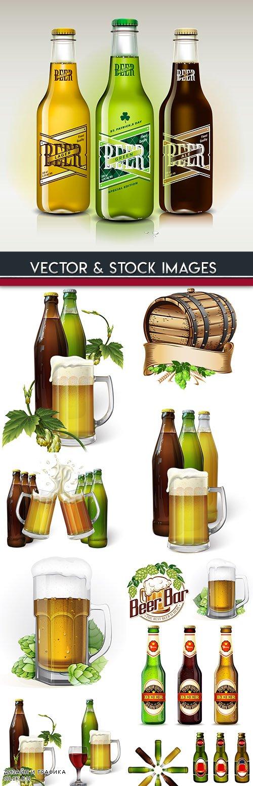 Amber foam beer bottle and mug with hop leaves