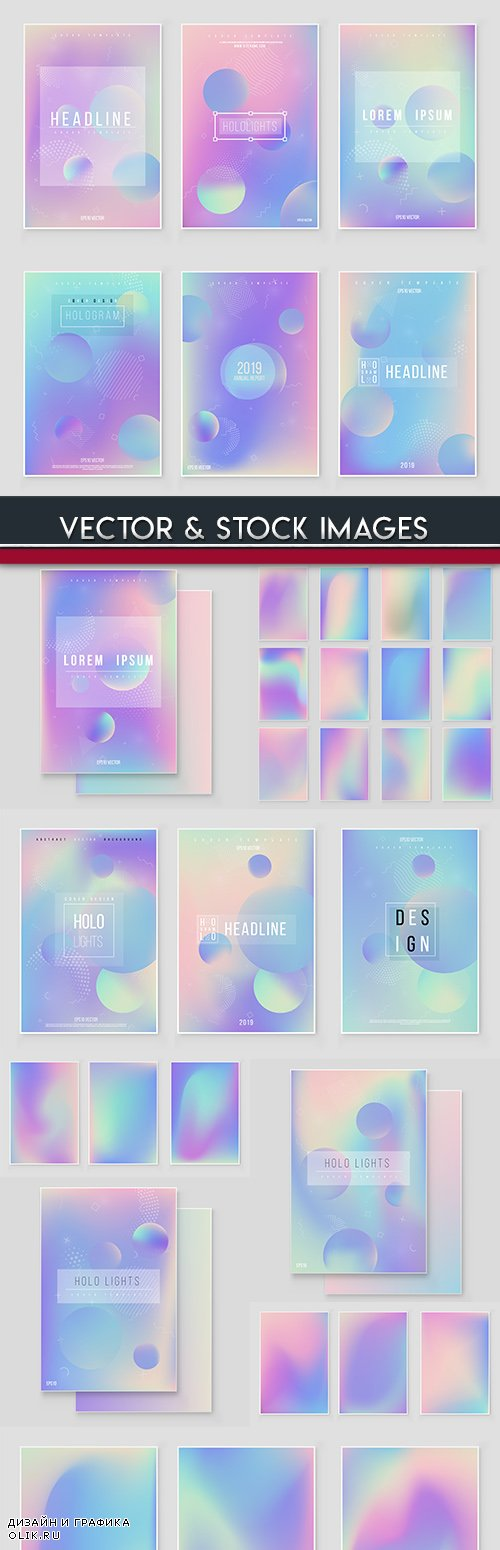 Gradient blurry abstract multicolor flyer and banner