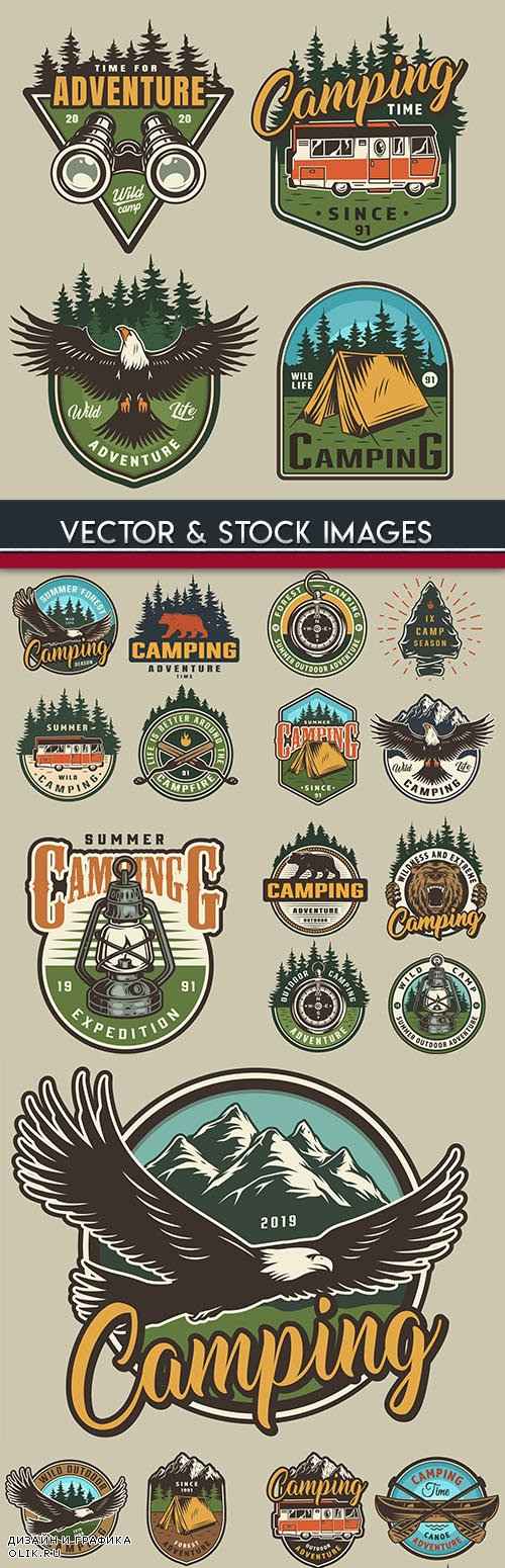 Camping summer and nature vintage label