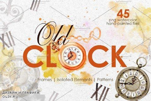 OLD CLOCK Watercolor png - 3902478