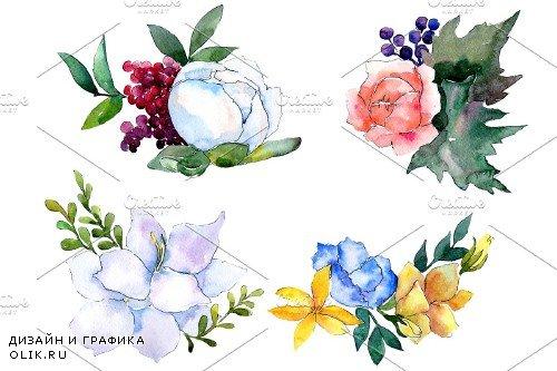 Bouquet Modest smile watercolor PNG - 3900054