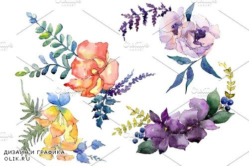 Bouquet Chainmail of love watercolor - 3900122