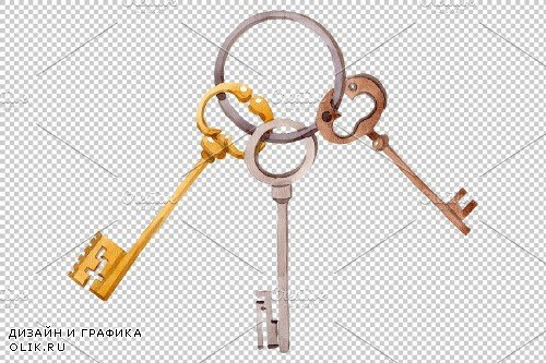 Key old antique watercolor png - 3898773