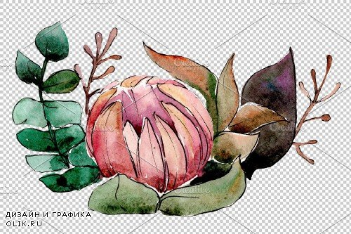 Bouquet Ruddy dawn watercolor png - 3899660